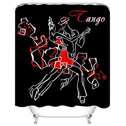 Juego de Cortina de Ducha Par Rojo Danza Tango Hombre y Mujer Bailando Juego de Decoración de Baño Argentino con 12 Ganchos Cortina de Ducha de Tela de Poliéster Impermeable para Baño