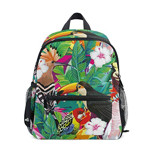 Pappagallo Tucano Uccello Tropicale Zaino per Asilo Nido Prescolare Bambini Studente Bookbag Zainetti per Viaggio Ragazze Ragazzi 2-7 Anni Capretto