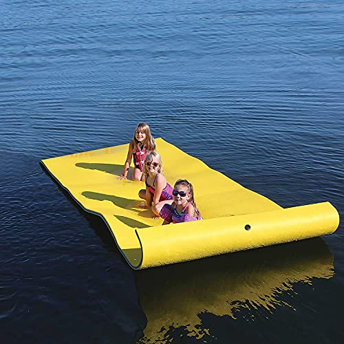 Floating Water Mat, 9 x 6 Feet Portable Floating Water Pad, Bouncy Tear-Resistant XPE Foam, Roll-Up Floating Island with Storage Straps, Giant Lily Pad for Pool River Ocean (9' X 6' Yellow)