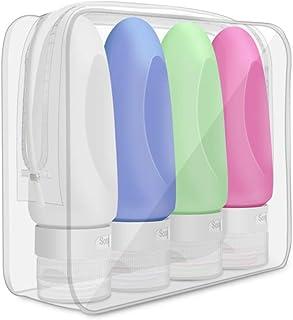 4 Botellas Silicona Viaje 86ml shoppingjy Travel Bottles Set, Contenedores De Silicona A Prueba Fugas Shamp para shampoo, ...