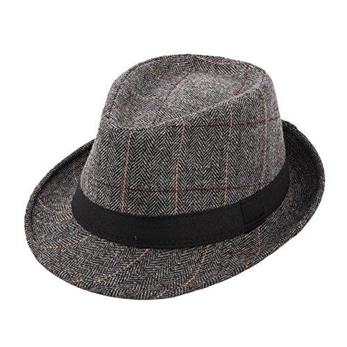 Cappello Fedora Jazz Trilby Feltro Uomo Donna Plaid Berretti Autunno Inverno, Multi-Colore