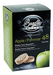 Chips from natural hardwoods and fruitwoods Produces clean continuous smoke; Apple Bisquettes produce a light, fruity and slightly sweet smoke aroma Includes 48 bisquettes for approximate 16 total hours of smoke For use with the Bradley Smoker