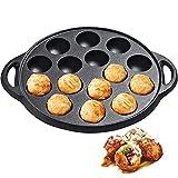 electric abelskiver pan - WUWEOT Non-Stick Cast Iron Griddle, Pre-Seasoned Takoyaki Grill Pan,15 Hole Pancake Octopus Ball Griddles for Making Pancake Balls, Poffertjes, Puffs, Takoyaki, Banh Khot, and Thai Kanom Krok