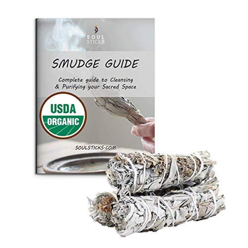 Ancientveda White Sage & Lavender Smudge Sticks 3 Pack for Cleansing, Meditation, Yoga, and Smudging