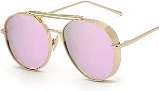 SGJFZD Men Women General Purpose Sunscreen UV400 Sunglasses Polarized Light Fashion Metal Full Frame (Color : Gold+Purple Powder)