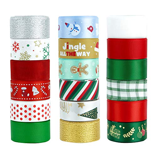 "VATIN 100 Yards 1"" Christmas Ribbon Printed Grosgrain Organza Satin Ribbons Metallic Glitter Fabric Ribbons 18 Rolls for Xmas Gift Package Wrapping,Winter Season Festival DIY Crafts Decor-Clearance"