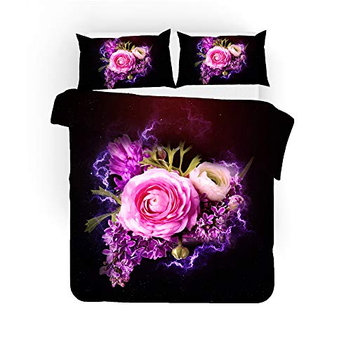 EU-VV Duvet Cover Set Fashion Colored Roses and Flowers Bedding Set for Teen Kids Personalized Design Quilt Cover and Pillowcase (200x200cm(double),Pink)
