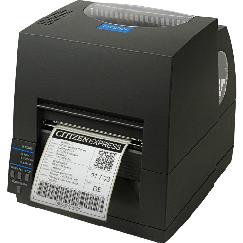 Citizen CL-S621 – Etikettendrucker (203 x 203 dpi, 104 mm, Direct Thermal/Thermal Transfer, 101.6 mm/Sek, USB, Seriell [optional: Ethernet, Parallel, Wireless LAN], 8 MB) schwarz