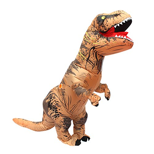 Halloween Erwachsene Aufblasbare Trex Dinosaurier Partei Kostüm Lustige Kleid Braun und USB-Kabel