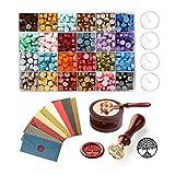 LaceDaisy Kit de Sello de Cera Kit de Sellado Retro con Caja de Regalo Sello Perlas de Cera para Sellar para Sellos, Sobres, Cartas, Invitaciones de Boda, Tarjetas de Regalo, Caja de Regalo