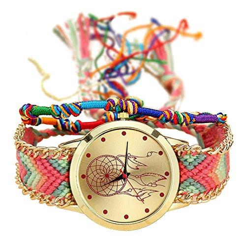 TOOGOO Reloj de Pulsera de Correa Trenzada Hecha de mano Atrapasuenos Amistad Reloj de Cuarzo para Mujer - Color 2