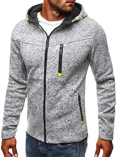 VECDY Herren Bluse,Räumungsverkauf- Herren Hoody Zipper Slim Hoodies Sweatshirts Pullover Mantel Jacke Lässiges Komfortoberteil(Grau,48)