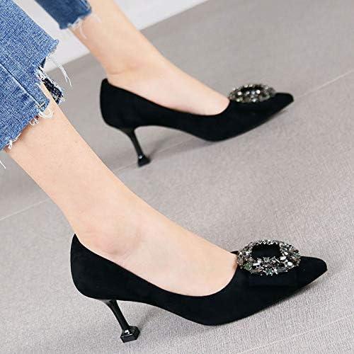 HRCxue zapatos de la Corte Temperamento de Diamantes de imitación, Boca Baja, zapatos Individuales, Tacones de Aguja de Gamuza Salvaje, mujeres, 38, negro