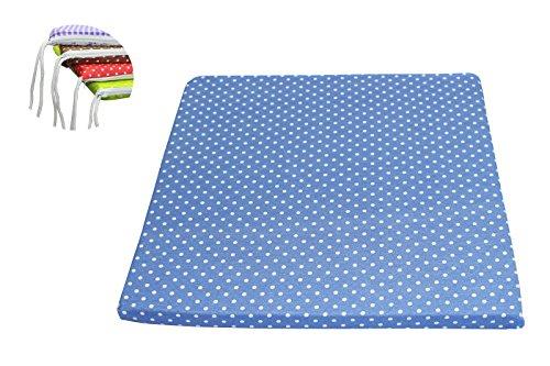 MERINO BETTEN 4er Set Hochwertige Stuhlsitzkissen, Sitzkissen für Stühle & Gartenmöbel in der Größe 40x40 cm (weitere Farben verfügbar) (Blau gepunktet)
