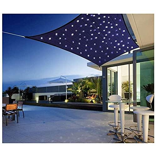 HJXX Caracol rectangular con luces LED, vela solar para terraza, protector solar impermeable, 95% UV bloque repelente al agua Oxford tela balcón, jardín_5x5m