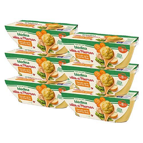 Blédina Idées de Maman Haricots Verts Carottes Veau dès 8 mois 2 x 200 g - Pack de 6