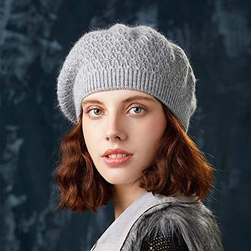 N-N Boina para Mujer Boina Tejida Invierno Sombrero para Mujer Boina Algodn Moda Otoo Bonnet Sombreros Adecuado para Reuniones Deportivas Al Aire Libre, Vida Diaria, Etc.-Gray_One_Size