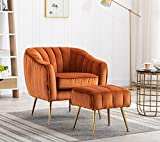 Artechworks Velvet Modern Tub Barrel Arm Chair Upholstered Tufted with Gold Metal Legs Accent Club Chair with Ottoman Footrest for Living Reading Room Bedroom, Caramel Color