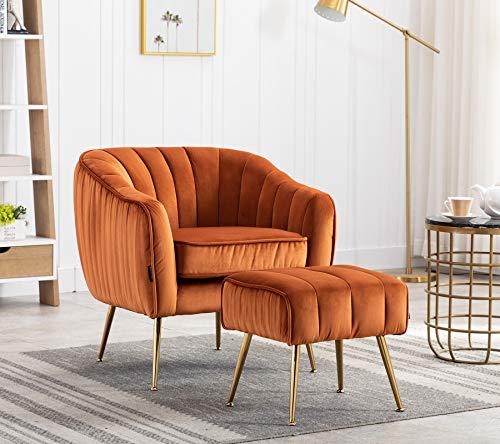 Velvet Modern Tub Barrel Accent Club Chair