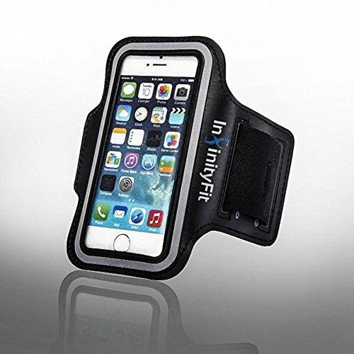 Infinityfit Best Sports Sweatproof Armband for Apple Iphone 5 Iphone 5sIphone 5c + Key Pocket + Reflective TrimBlack Neoprene MaterialPerfect Fit Protective Durable Running Armband Case for Iphone 5/5s/5c Suitable forRunningGymWorkouts andCycling