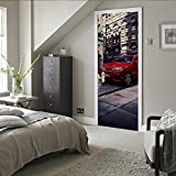 Türaufkleber Rote Auto Pvc Selbstklebende Tapete Diy Home Decoration Simulation Poster Wandaufkleber 77 * 200Cm