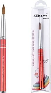 KEMEISI New #8#10#12#14#16 Kolinsky Sable Brush Acrylic Nail Art Brush Two Lines Red Metal Acrylic Salon (#8)