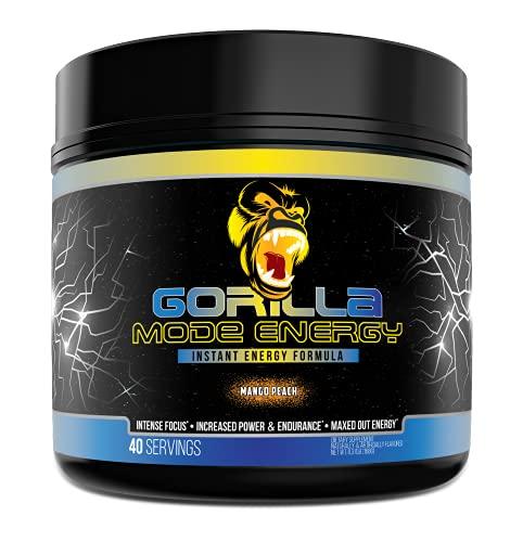 Gorilla Mode Stim Energy Pre-Workout Formula - Intense Focus & Clean Mental Energy/L-Tyrosine, Kanna, Caffeine, N-Phenethyl Dimethylamine Citrate, Huperzine A / 144 Grams (Mango Peach)