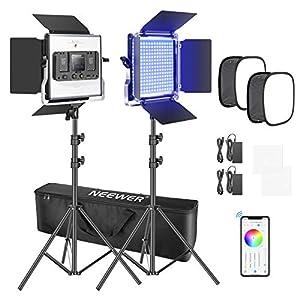 Neewer 2 Paquetes Luz LED 660 RGB Control de Aplicación Kit de Iluminación de Video con Soporte Softbox y Bolsa LED 660 SMD Regulables/CRI95/3200K-5600K/0-360 Colores Ajustables/9 Escenas Aplicables