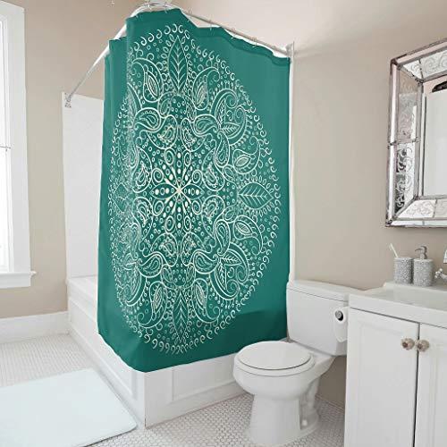 Lind88 Duschvorhang, Mandala, grafischer Stil, modern, leicht zu reinigen, Vorhang-Set mit Haken, indischer Stil, für Heimdekoration, Weiß, 180 x 200 cm