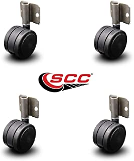 """Side Mounting Casters - 2.375"""" Black Twin Wheels - Hardwood Safe Non Marking - Set of 4 - Service Caster"""