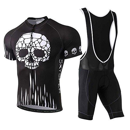 SKYSPER Set Abbigliamento Ciclismo Estivo, Completo Ciclismo Maniche Corti + Salopette 360 Gradi Traspirante per Uomo Ciclismo