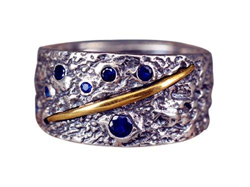 NicoWerk Silberring Breit Mit struktur Vintage Geschwärzt Mit stein Saphir Blau Golden Ring Silber 925 Verstellbar Damenringe Damen Schmuck SRI273