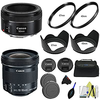 Canon EF-S 10-18mm f/4.5-5.6 is STM Lens + Canon EF 50mm f/1.8 STM Lens + Pixi-Lens Basic Combo Bag from Pixibytes