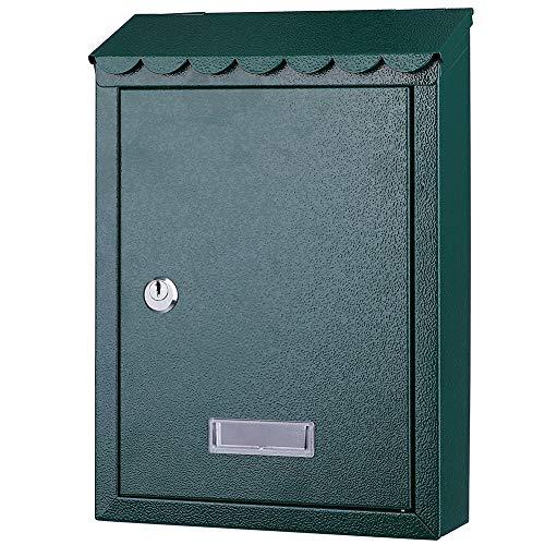 Bakaji 2832147 Buzón de pared de acero inoxidable, buzón para correo de exterior con cierre de llave, verde