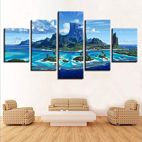 WZYWLH Modulare economici Immagini di Arte della Parete per Soggiorno Home Decor 5 Pannelli Paesaggio Moderno cornici per Pittura opere d'Arte Stampe su Tela
