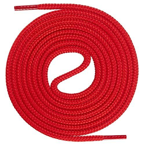 Mount Swiss runde Premium-Schnürsenkel für Business- und Lederschuhe - reißfester Allroundsenkel - ø 3mm - Farbe Rot Länge 130cm