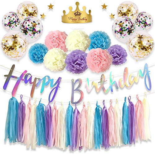 Monkey Home 39pcs Birthday Decorations Blue Purple Pink White Tissue Paper Tassel Star Garland Tissue Paper Pom Poms Confetti Balloon for Birthday,Wedding,Festival,Party Decoration