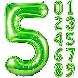 Unisun Globo verde número 5, 101.6 cm de helio gigante número de 0 a 9 años para fiesta de cumpleaños, boda, despedida de soltera, sesión de fotos, aniversario (verde | 5)