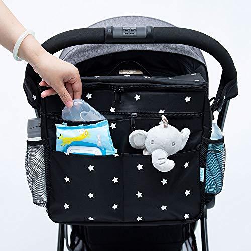 Orzbow Buggy-Organizer-Taschen, 22 l, großer Kinderwagen-Organizer, Kinderwagen-Organizer mit Getränkehaltern, verwendet als Mom Handtasche & Schultertaschen & Backbag (Balck Star)
