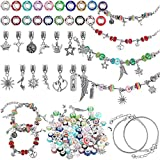 131 Pieces Easter DIY Charm Bracelet Making Kits Include 7 Inch Silver Snake Bracelet Chain, Mixed Color Large Hole Glass Bead, European Bead Rhinestone Spacer Silver Ball, Pendant Charm for Jewelry