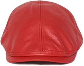 XGao Newsboy Caps, Mens Newsboy Caps Women Vintage Leather Beret Cap Hats Hat Sunscreen Gatsby Flat Ivy Cabbie Driving Hunting for Boyfriend Gift (Red)