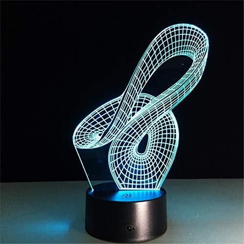 LBJZD luz de noche Abstracto Geométrico Artístico 3D Led Usb Lámpara Creativo Artístico Diseño De Luz Nocturna Decoración Del Hogar Bombilla Rgbw Con Mando A Distancia