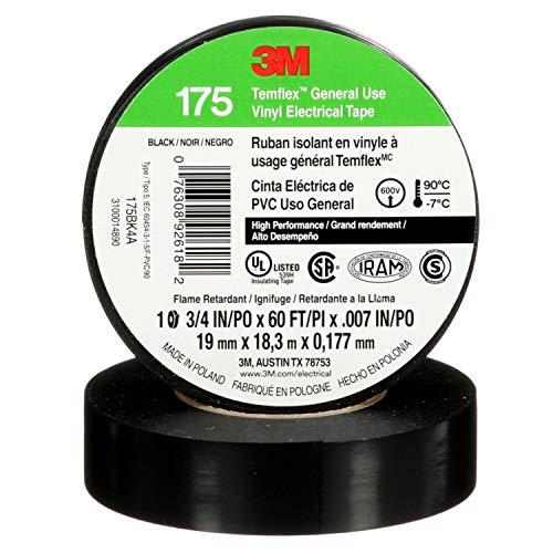3M Temflex - Cinta eléctrica de vinilo 92618 175, color negro, 19 mm x 18 m, 10 rollos