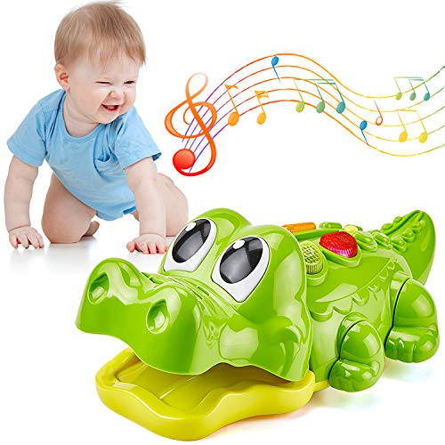 GiftInTheBox Crocodile Musical Toy - Baby Musical Toys for 1 Year Old Girl & Boy, Babies, Infant or Toddler - Music, Light Up & Game Modes, 6 Singing Musical Songs - Awesome Crawling Toys