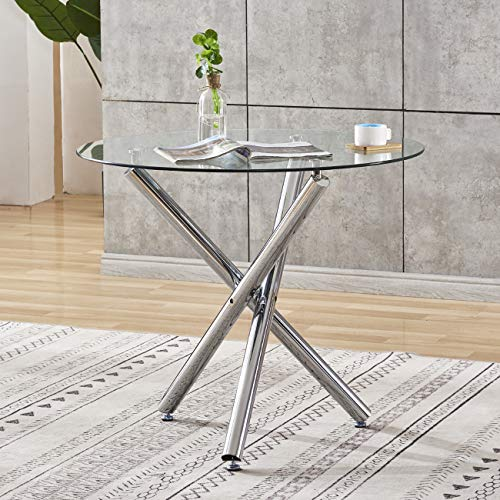 Ansley&HosHo Round Dining Table Glass Kitchen Table Dining Room Table with Chrome Finishing Legs for 2-4 People Dining Guest Receiving Modern Home Kitchen Furniture