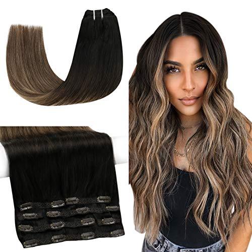 Sunny Extension de Cheveux Humain a Clip Balayage #1b Noir Naturel Ombre #4 Marron avec #27 Blonde Clips Cheveux Extension Naturel Humain Remi 16 pouces 7pcs/120g