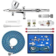 Gocheer Professional Airbrush Gun Set-Double Action Airbrush Spray Gun Kit,Air Filter Quick Disconnect 3 Different Nozzles and Needles (0.2,0.3,0.5mm)for Art Tattoo Nail,Makeup,Cake Craft,Modeling