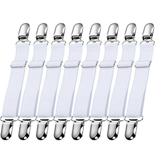 12 Stück Blattgurte Hosenträger Verstellbare Bettlaken Verschlüsse Metallclips Elastische Verschlüsse Greifer für Hausbedarf (Weiß)
