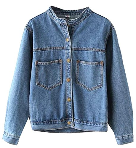 OMUUTR Damen Jeansjacke Jacket Oberbekleidung Mantel Coat Brusttasche Langarm Lose Single Breasted Kragenlose Jeans Denim Jacken Outwear Large