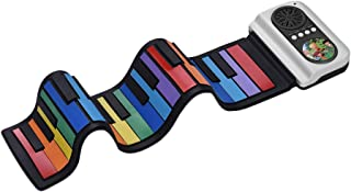 Decdeal 37-Key Portable Roll-Up Piano Silicon Electronic Keyboard Colorful Keys Built-in Speaker Musical Toy for Children ...